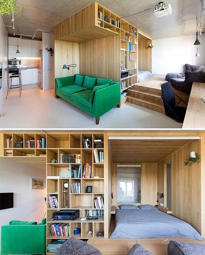 Thiết kế nhà chung cư mini tận dụng được khoảng không gian đằng sau ghế sofa